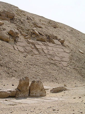 Pyramid of Senusret I - Vestiges of the stone cladding of the Pyramid of Senusret I.