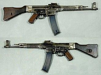 Intermediate cartridge - Sturmgewehr 44 (Germany). Its development began in earnest with the Maschinenkarabiner project