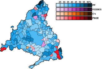 Madrid (Congress of Deputies constituency) - Image: Madrid Municipal Map Congress 2015