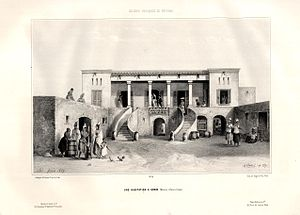 House of Slaves - What is now the House of Slaves, depicted in this French 1839 print as the House of signare Anna Colas at Gorée, painted by d'Hastrel de Rivedoux.