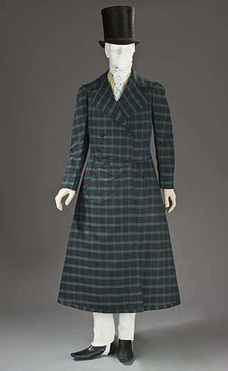Frock - Man's wool and silk twill frock coat, France (1816–1820), illustrating the shift from previous 18th century connotations of a frock to the early 19th century on definition of a (dark) frock coat. Los Angeles County Museum of Art, M.2010.33.7.