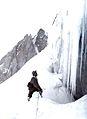 Man viewing bergschrund, Vallee Blanche. TA1154.jpg