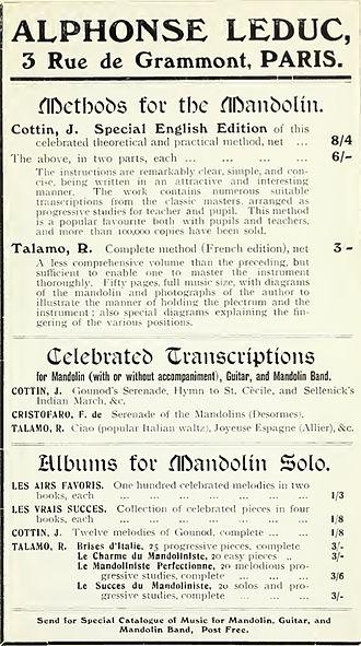 Éditions Alphonse Leduc - 1914 advertisement by Alphonse Leduc of Paris for mandolin music by Jules Cottin, R. Talamo, and Ferdinando de Cristofaro. From Philip J. Bone's book, The Guitar and Mandolin.