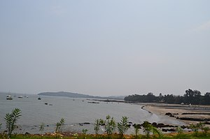 Alibag - Mandawa Beach as seen from Mandawa Port.