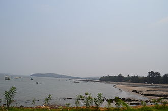 Alibag - Mandawa Beach as seen from Mandawa Port.