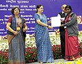 Maneka Sanjay Gandhi presented the National Awards to the Anganwadi Workers for Exceptional Achievement, at a function, in New Delhi. The Secretary, Ministry of Women and Child Development.jpg