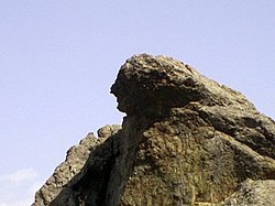 """The Weeping Rock"", associated with the Anatolian princess Niobe, attends Manisa from the heights of the Mount Sipylus"