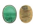Manschettknappar av guld med malakit, 1860 - Hallwylska museet - 110553.tif