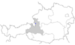 Map of Austria, position of Hallein highlighted