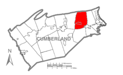Map of Cumberland County, Pennsylvania highlighting Silver Spring Township
