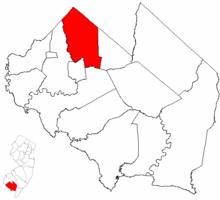 Upper Deerfield Township highlighted in Cumberland County. Inset map: Cumberland County highlighted in the State of New Jersey.