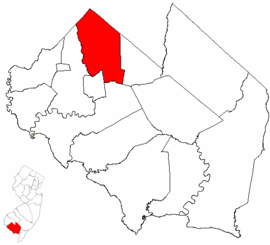 Map of Cumberland County highlighting Upper Deerfield Township.png