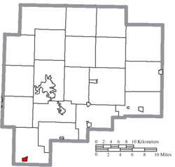 Location of Cumberland in Guernsey County