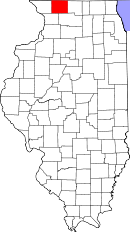 Map of Illinois highlighting Stephenson County