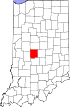 State map highlighting Hendricks County