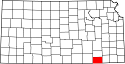 map of Kansas highlighting Chautauqua County