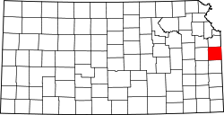 map of Kansas highlighting Miami County