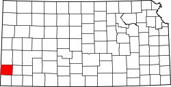 map of Kansas highlighting Stanton County