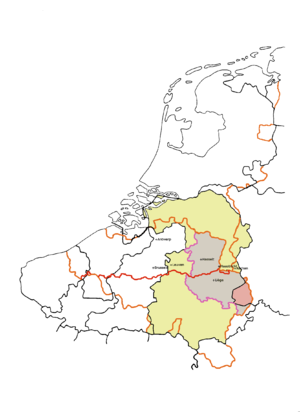 Tungri - This map shows the pre-1559 medieval Diocese of Liège (in yellow) which evolved from the Civitas Tungrorum and probably had similar boundaries. The modern Belgian provinces of Liège and Limburg are also shown. The red boundary which separates them is the modern language frontier between Dutch and French. The orange lines are modern national frontiers. Before the Roman period, the territory of the Germani Cisrhenani was bigger, and stretched to Cologne.