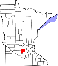 Map of Minnesota highlighting McLeod County