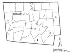 Map of Bradford County, Pennsylvania highlighting New Albany