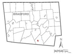 Map of Bradford County, Pennsylvania highlighting New Albany