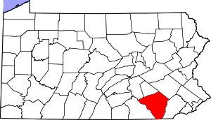 Map of Pennsylvania highlighting Lancaster County