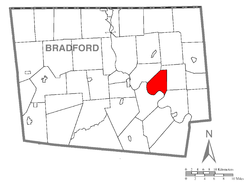 Map of Bradford County with Standing Stone Township highlighted