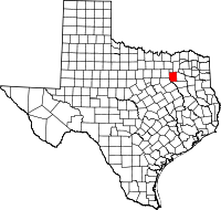 Map of Texas highlighting Kaufman County