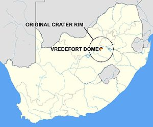 Vredefort crater - Map of South Africa showing the location of the Vredefort Dome, the remains of a 2.020 billion year-old impact crater. The interrupted line circle, 300 km in diameter, marks the extent of the original crater.