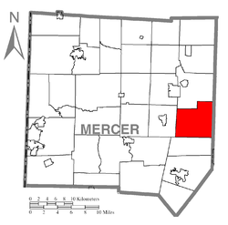 Location of Worth Township in Mercer County