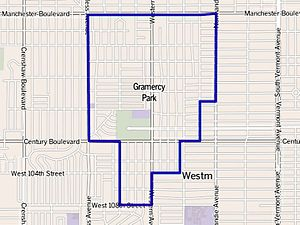 Gramercy Park, Los Angeles - Gramercy Park neighborhood of the city of Los Angeles, as drawn by the Los Angeles Times