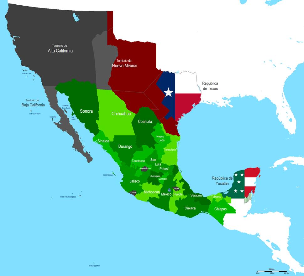 Mapa Mexico 1842