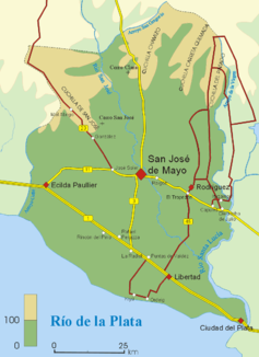 Course of the Río San José in the department of San José