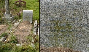 Marc Klaw - Klaw's grave at the St John the Baptist's Church, Clayton, England, photographed in 2014. The date of birth is inscribed as 1859
