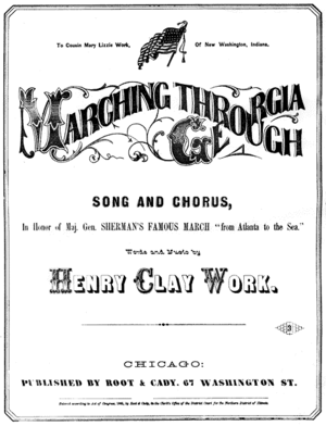 "Marching Through Georgia - Cover of the 1865 sheet music to ""Marching Through Georgia""."
