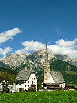 Maria Alm parish church with Steinernes Meer range