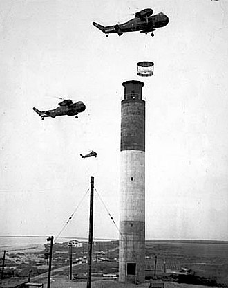 Oak Island Light - 1958-Marine Corps helicopters lifting lantern atop the lighthouse