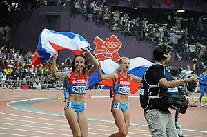 Athletics at the 2012 Summer Olympics – Women's 800 metres - Image: Mariya Savinova and Ekaterina Poistogova Womens 800m 2012 Olympics