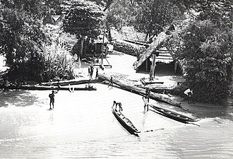 Ndyuka people - Dugout canoes at Ndyuka Maroon village, Suriname River, 1955