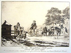 Great Portland Street tube station - Image: Marylebone Toll Gate at Great Portland Street in 1790