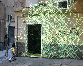 Installation art - An urban interactive art installation by Maurizio Bolognini (Genoa, 2005), which everybody can modify by using a cell phone.