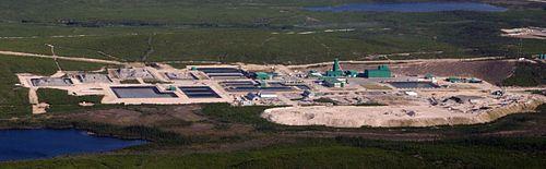 Uranmine McArthur River mit Absetzbecken für die Aufbereitungsabgänge