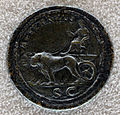 Medaglione bimetallico di faustina madre, 141 dc, verso con cibele sul carro trainato da leoni.JPG