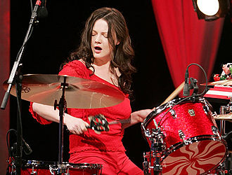 Meg White - White with her drum kit in 2005.