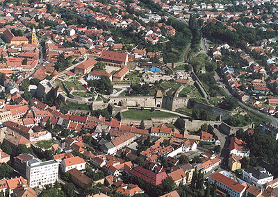 Aerial photography of the Castle and a part of the Downtown, Tetemvar, Almagyar and Cifra hostya. Megyeszekhely - Heves megye - Eger.jpg