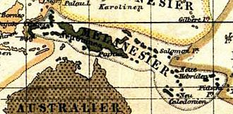Melanesia - Distribution of Melanesians according to Meyers Konversations-Lexikon