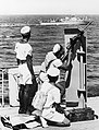 Members of the Trinidad Royal Naval Volunteer Reserve at gun drill with a light machine gun on board a Motor Launch, September 1944. K7527.jpg