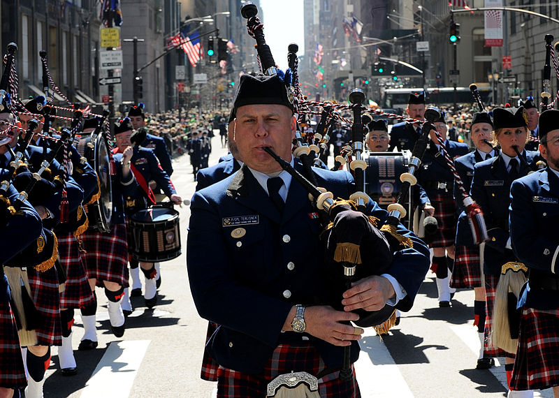 Members of the U.S. Coast Guard Pipe Band march up Fifth Avenue in the 250th St. Patrick%27s Day Parade, Manhattan, N.Y., March 17, 2010.jpg