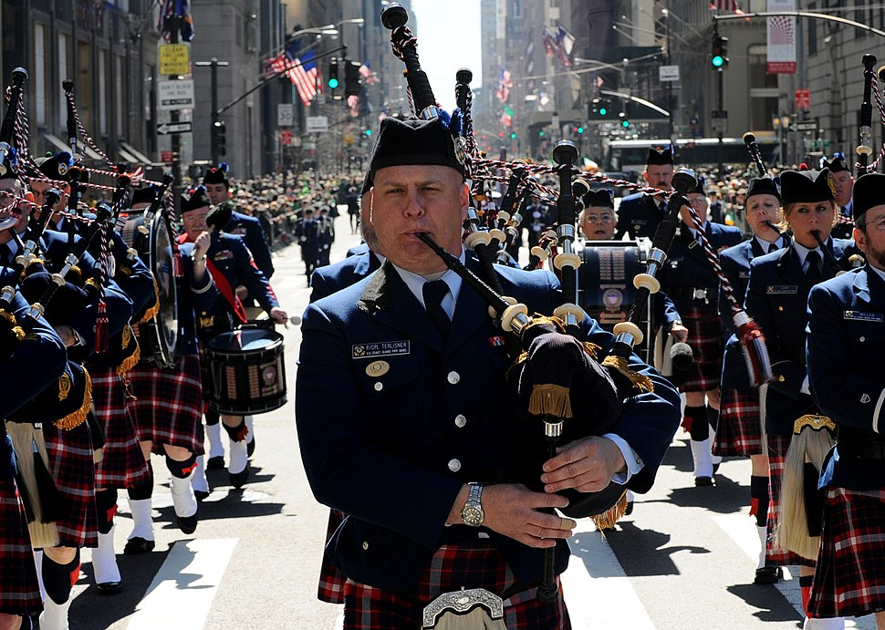 Members of the U.S. Coast Guard Pipe Band march up Fifth Avenue in the 250th St. Patrick's Day Parade, Manhattan, N.Y., March 17, 2010